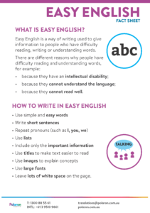 Download Easy English fact sheet